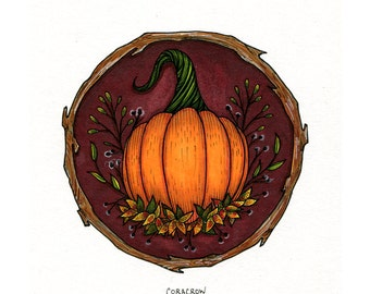"Original Illustration 5x7"" - Harvest Pumpkin Design"