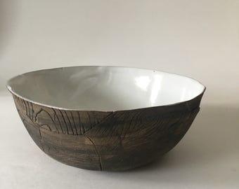 Handmade Large White Faux Bois Ceramic Serving Bowl, Wood Grain Texture, Round Small Bowl