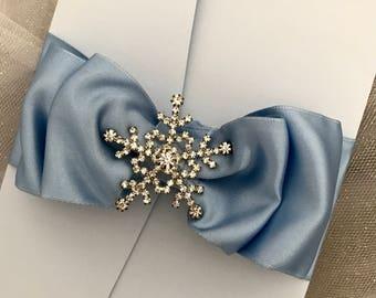 Winter snowflake wedding invitation - elegant light blue invitation - pocket folder wedding invitations - winter wonderland invitations
