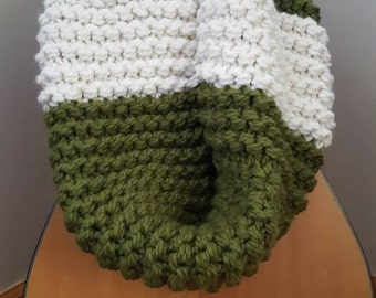 Oversized Bulky Infinity Knit Scarf/ Cowl in Forest Green and White