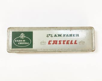 A. W. Faber Castell Tin Box, 12 Unused Green Pencils, Made in Germany Old New Stock, Unused Vintage Pencils