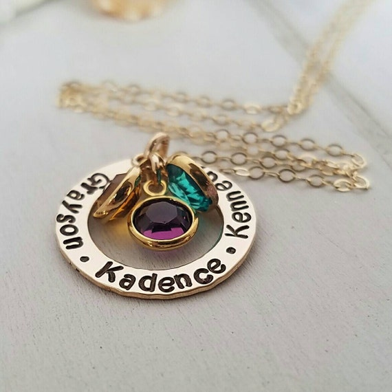 "Gold Name Necklace, Personalized Mothers Necklace, 14kt Gold Filled, Custom Name Necklace, 3/4"", Grandmother Necklace, Birthstone Jewelry"