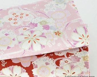 Shabby Chic Flower Fabric, Pink Red Cherry Blossom Flower Linen Cotton Fabric For Curtain Bag- 1/2 Yard