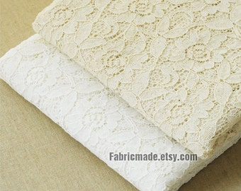 Off White Ivory Lace Fabric Cream Cotton Lace Flower Embroidery Fabric Wedding Bridle Lace Fabric - 1/2 yard