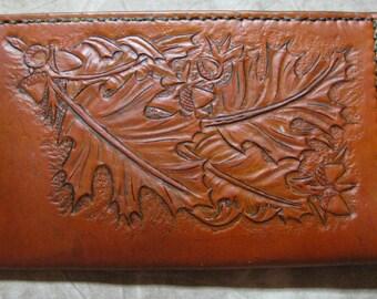 Leather Carved Leaves Checkbook / Calendar