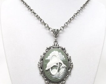 Hooping Dolphin Cameo on Antique Silver Pendant Necklace (