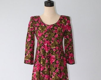 SALE Vintage Baby Doll Floral Print  Dress . 80s 90s Flirty Mini Dress . Pink Green Tropical Flowers Hawaiian Orchids Short Dress  . Sz Smal