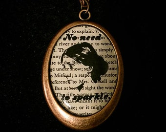 "Bookish necklace:  Virginia Woolf - A Room of One's Own, ""No need to sparkle."""