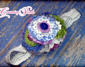 M2M Giggle Moon Heaven Sent, Royal Blue, Lime Green, Lavender Hair Piece, Purple Blue Headband, White, Cornflower Blue, Hair Accessory, Bow