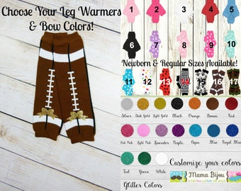 Baby Girl Football Glitter Bow Leg Warmers Leggings Baby Girl Clothes Newborn or Toddler Sizes - CUSTOMIZE YOUR OWN