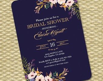 Bridal Shower Invitation Wedding Shower Invite Navy Blue Gold Black Gold Watercolor Floral