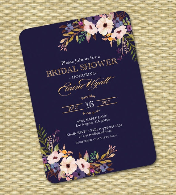 Bridal shower invitation wedding shower invite navy blue gold black il570xn filmwisefo