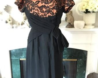 50s Pumpkin and Black Evening Dress