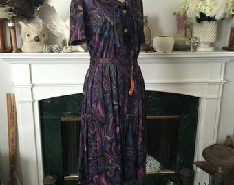 50s 60s Peacock Paisley Print Day Dress w/hang tag