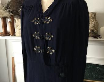 40s Navy Blue Rayon Dinner Dress