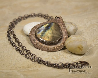 Labradorite Hammered Copper Necklace Pendant