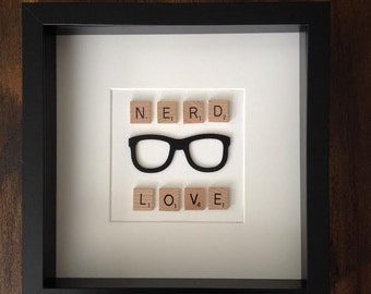 "Nerd love Unique original gift 9"" x 9"" Wall Art"