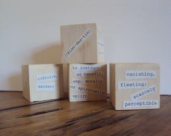Word Block Set - Minimalist Gift for Writer - Unique Desk Accessory - Teacher Gift - Writing Gift - Dorm Decor - College Student Study Aid