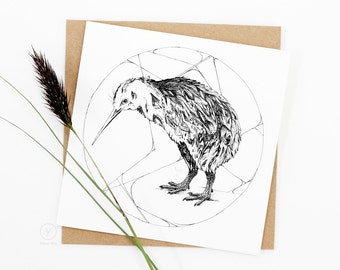 Kiwi Card / Kiwi Bird Card / New Zealand Native Bird / Animal Illustration Card / Square Card