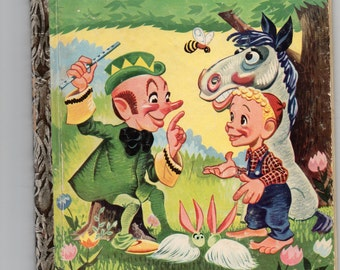 "Vtg. Little Golden Book Bil Baird's Whistling Wizard ""A"" (1st Ed, 1st Print), 1952 Hard to Find Wonderful Child's Tale Dooley the Wizard"