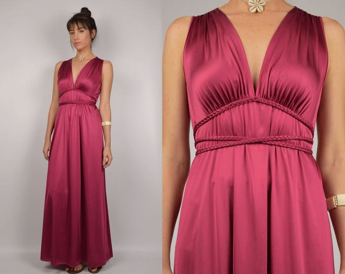 70's Crimson Maxi Slip Dress