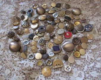 Buttons Large Lot of 90 Assorted Gold Brass Metal Buttons
