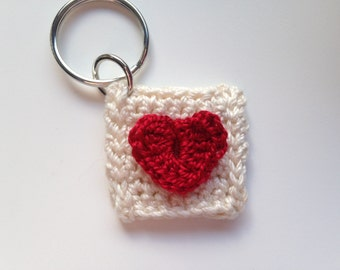 Keychain - Quarter Holder - Key Fob - Stocking Stuffer - Quarter Holder - Hand Crocheted Items - Crochet Keychain - Heart Keychain
