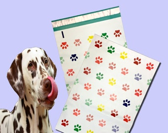 "10"" x 13"" Rainbow Paw Prints FLAT POLY Mailers, Adhesive Self Sealing Flat Envelope Mailers, Vibrant Colored Mailer Bags (20 Pack)"