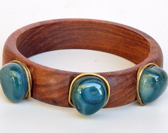 Wood Bracelet with Three Blue Agates and Brass Wire