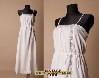 White 20s 30s style lingerie camisole negligee nightie / White Vintage lingery  / size Small