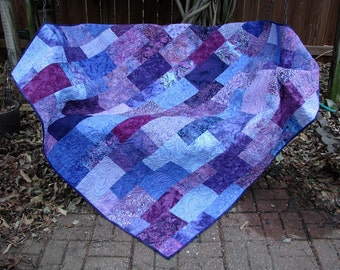 Quilt - Lap Quilt, Sofa Quilt, Quilted Throw - Perfectly Purple Batik Lap Quilt