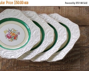 Vintage Adams Antiques Square Salad Plates Set of 4, Steubenville, Rare, Shabby Cottage, Tea Party, French Farmhouse, Weddings, Ca.
