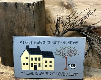 A House Is Made Of Brick And Stone, Wooden House Sign, Home Decor, Housewarming Gift, Wood Sign Saying, New Home Sign, Love Home, Wood Signs