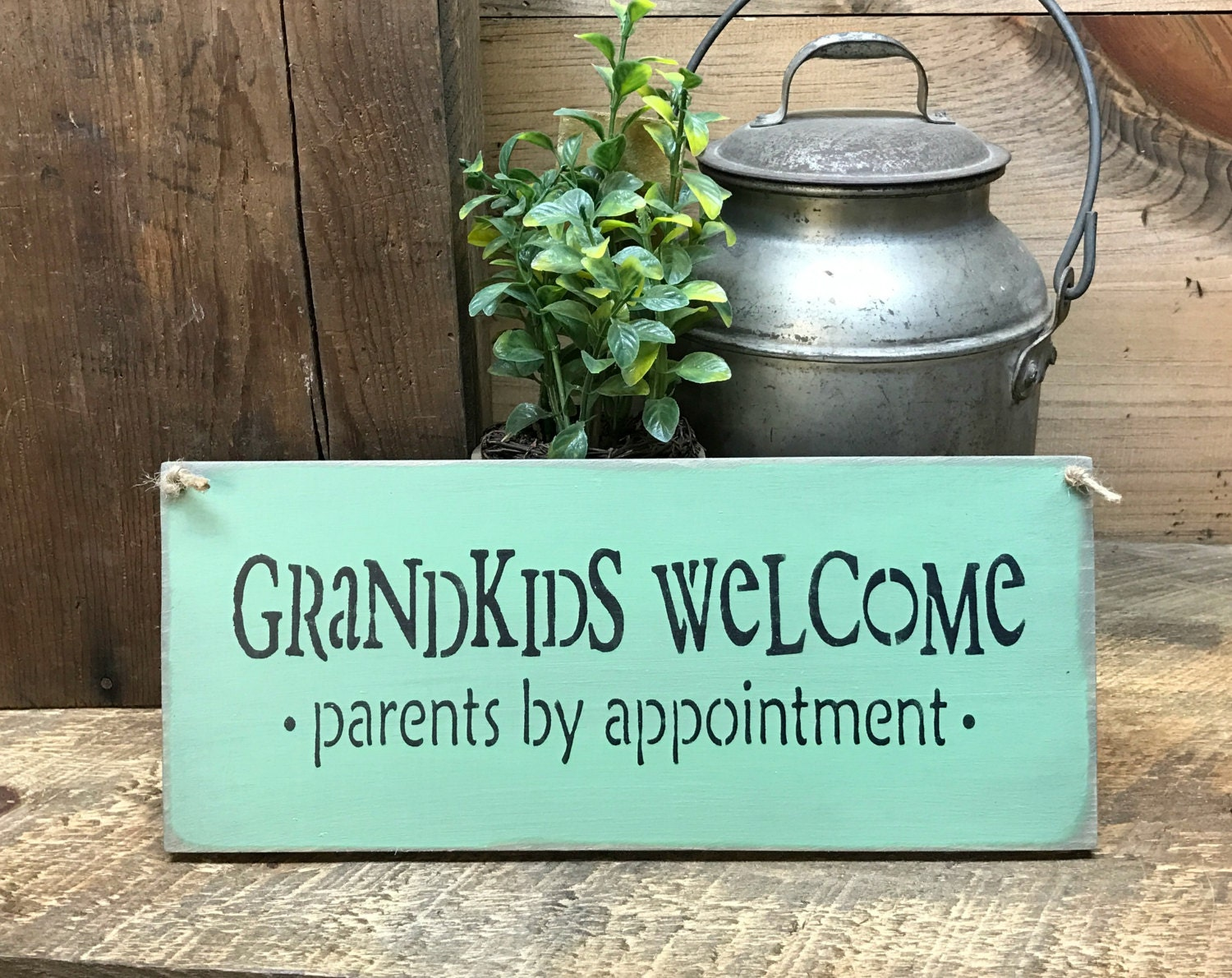 wooden sign grandkids welcome parents by appointment gift