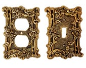 Bronze Electric and Light Switch Plates With Lots of Scrolls and Roses - Mid-Century AmerTac Hardware