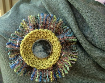 Handmade quirky textile flower brooch