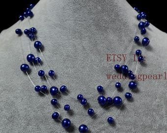 Blue Floating Necklace,Illusion Necklace,multi-strand pearl necklace,5 rowes 5-9 mm 17-19 inches navy blue Freshwater Pearl Necklace,wedding