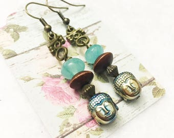 Mint green jade and wooden dangle earrings with metallic Buddah bead and tarnished brass findings by Jules Jewelry Box