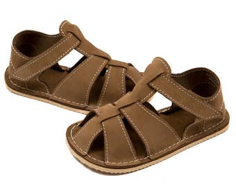 Beige nubuck Toddler Leather Sandals, Vibram sole, support barefoot walking, sizes EU 16 to 24 - US 2 to 7.5