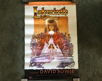 RARE, Vintage, ORIGINAL 1977 David Bowie, Labyrinth, Original One-Sheet Movie Poster. 24 X 36, Jim Henson, Tri-Star Pictures
