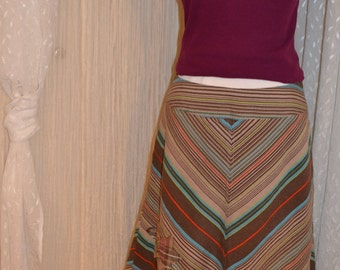 Upcycled...eco friendly...diagonal stripe skirt....taupe, brown, teal....linen...size 8....