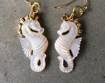 Seahorse mother of pearl earrings, boho wedding, sister gift, beach lover