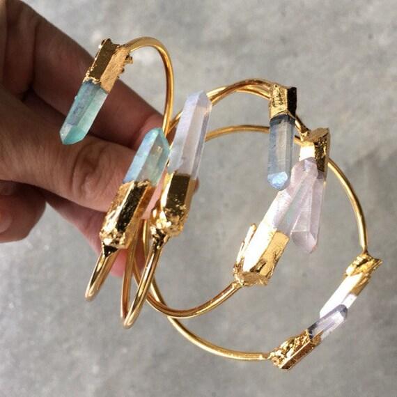 Crystal Bracelets Cuffs, Quartz points, boho jewelry, raw crystals