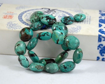 Natural Turquoise Beads Real Turquoise Old Turquoise Beads 11beads Nugget Oval