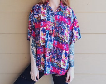 Baroque Print Colorful Rainbow Bright Collage Vintage Oxford Shirt // Women's size Small S