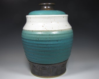 Countertop Compost Bin Recycle Garbage Kitchen Scraps Coffee Grinds - Functional Kitchen Pottery Handmade Gift for Gardener Cook turquoise