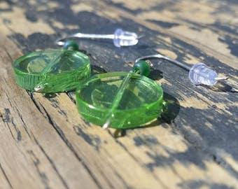 Green Disc Dangle Earrings