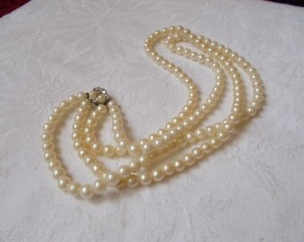 Stunning Vintage Necklace-2 Strand Faux Pearl-Gatsby 20's Style-N1823