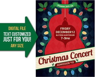 Christmas, holiday, concert, music, guitar, band, event, flyer, invite, printable, poster, personalized, customized, invitation, postcard