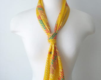 Vintage Monique Martin Long Scarf - Bright Yellow -  Fashion Scarves - Womens Accessories 1970s